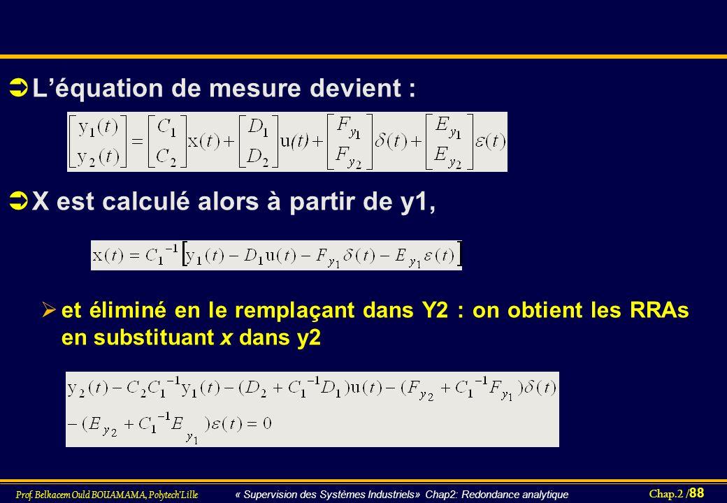 L'équation de mesure devient :