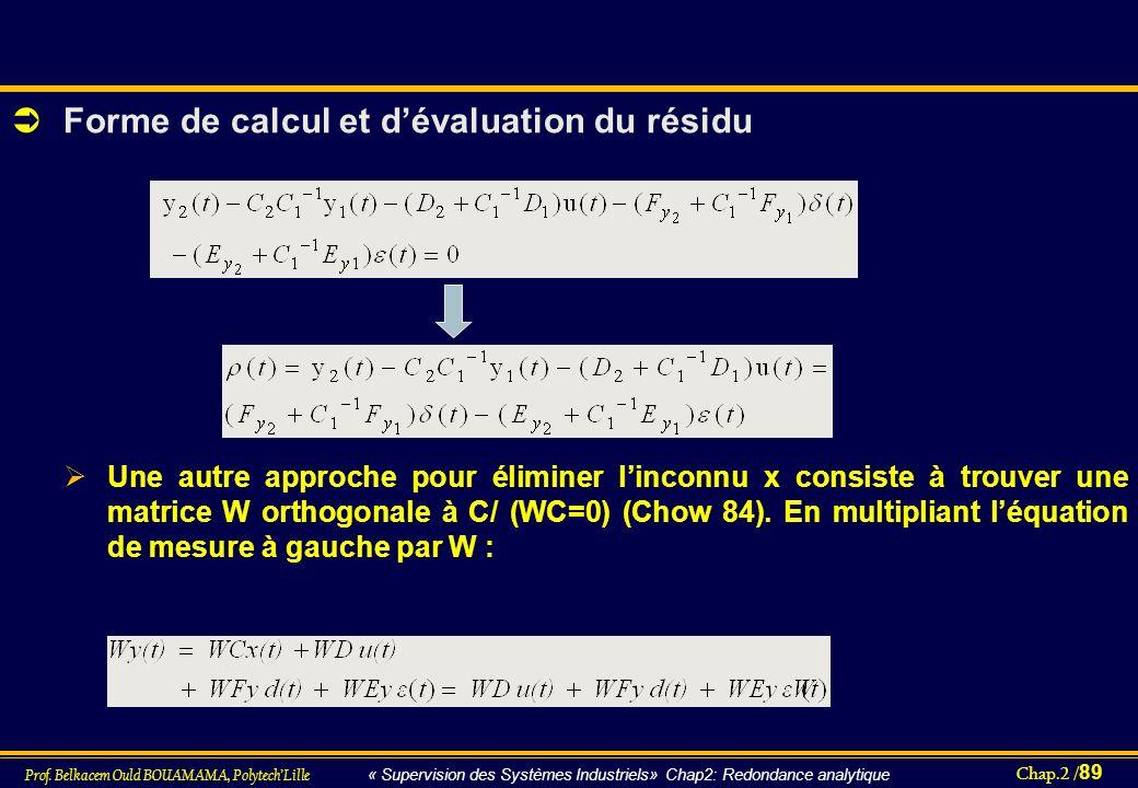 Forme de calcul et d'évaluation du résidu