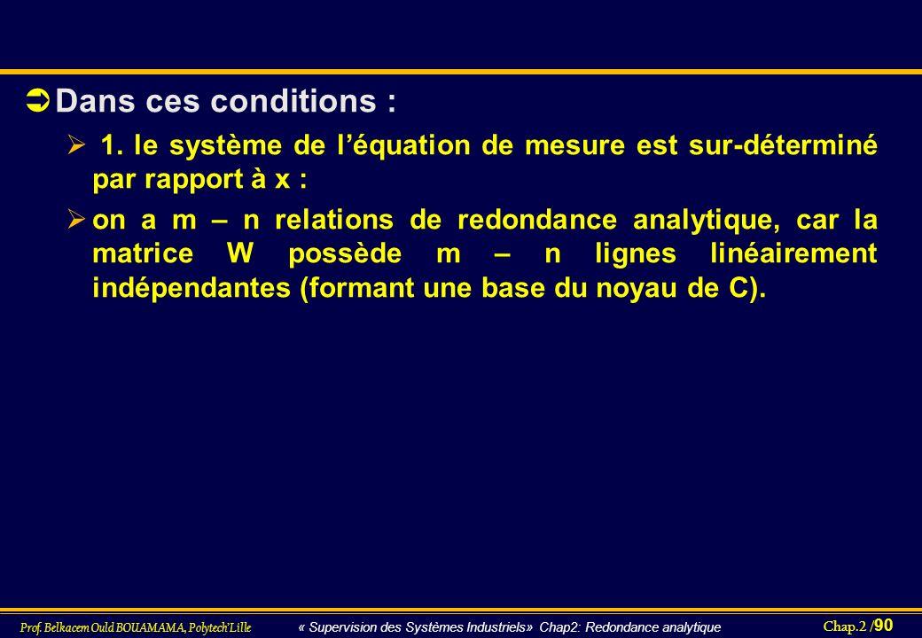 Dans ces conditions : 1. le système de l'équation de mesure est sur-déterminé par rapport à x :