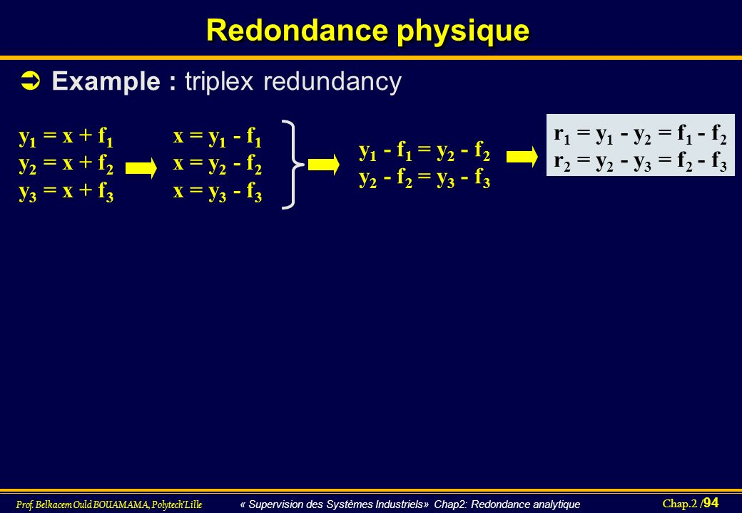 Redondance physique Example : triplex redundancy