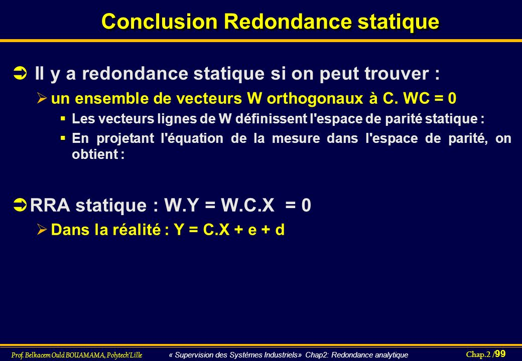Conclusion Redondance statique
