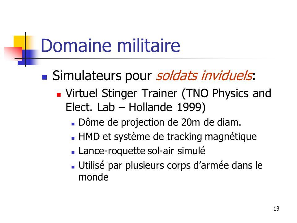 Domaine militaire Simulateurs pour soldats inviduels: