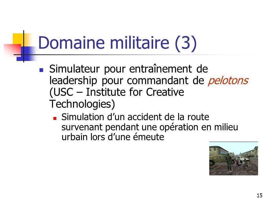Domaine militaire (3) Simulateur pour entraînement de leadership pour commandant de pelotons (USC – Institute for Creative Technologies)