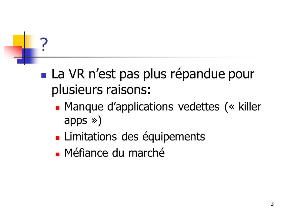 La VR n'est pas plus répandue pour plusieurs raisons: