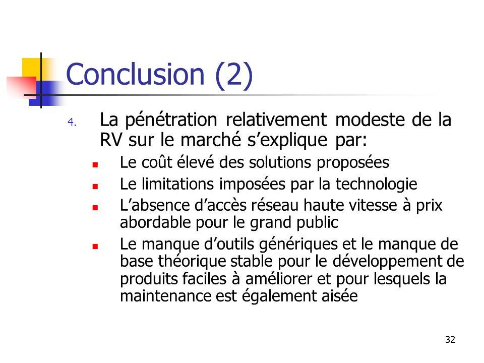 Conclusion (2) La pénétration relativement modeste de la RV sur le marché s'explique par: Le coût élevé des solutions proposées.