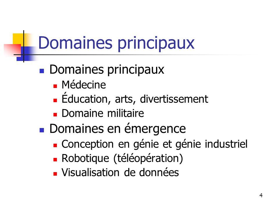 Domaines principaux Domaines principaux Domaines en émergence Médecine