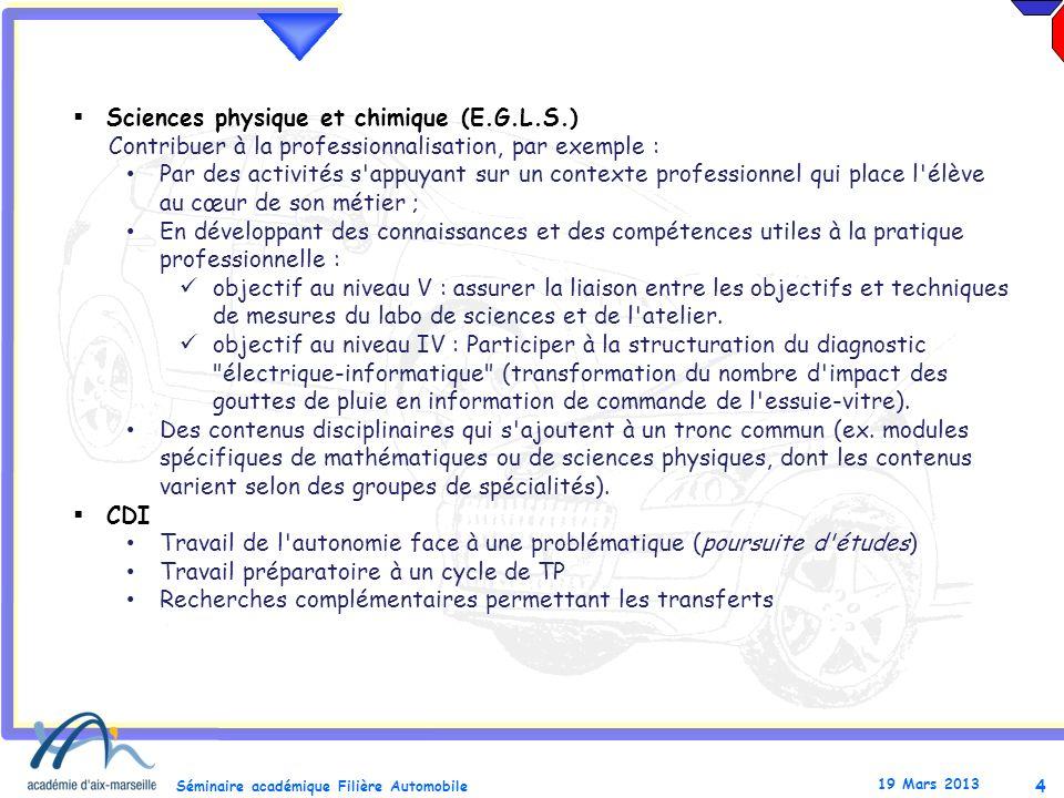 Sciences physique et chimique (E.G.L.S.)