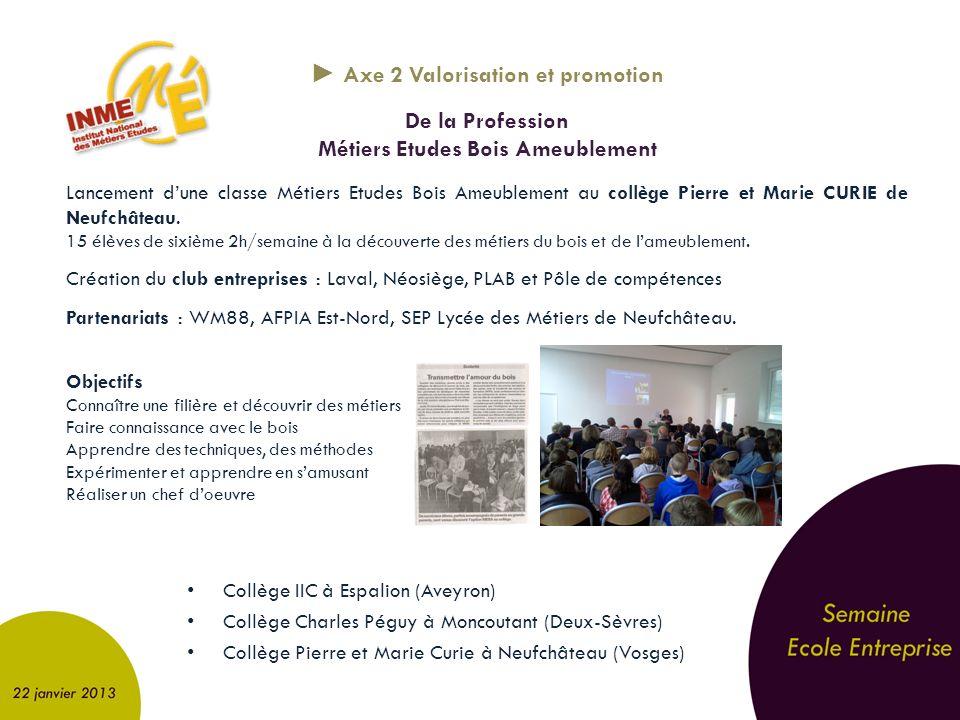 ► Axe 2 Valorisation et promotion Métiers Etudes Bois Ameublement