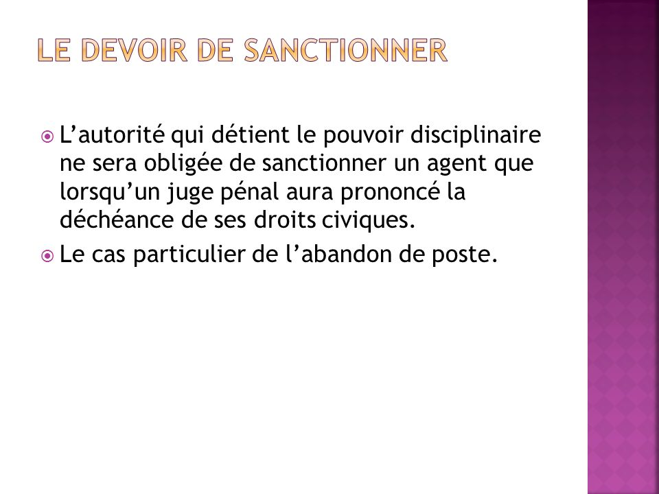 Le devoir de sanctionner