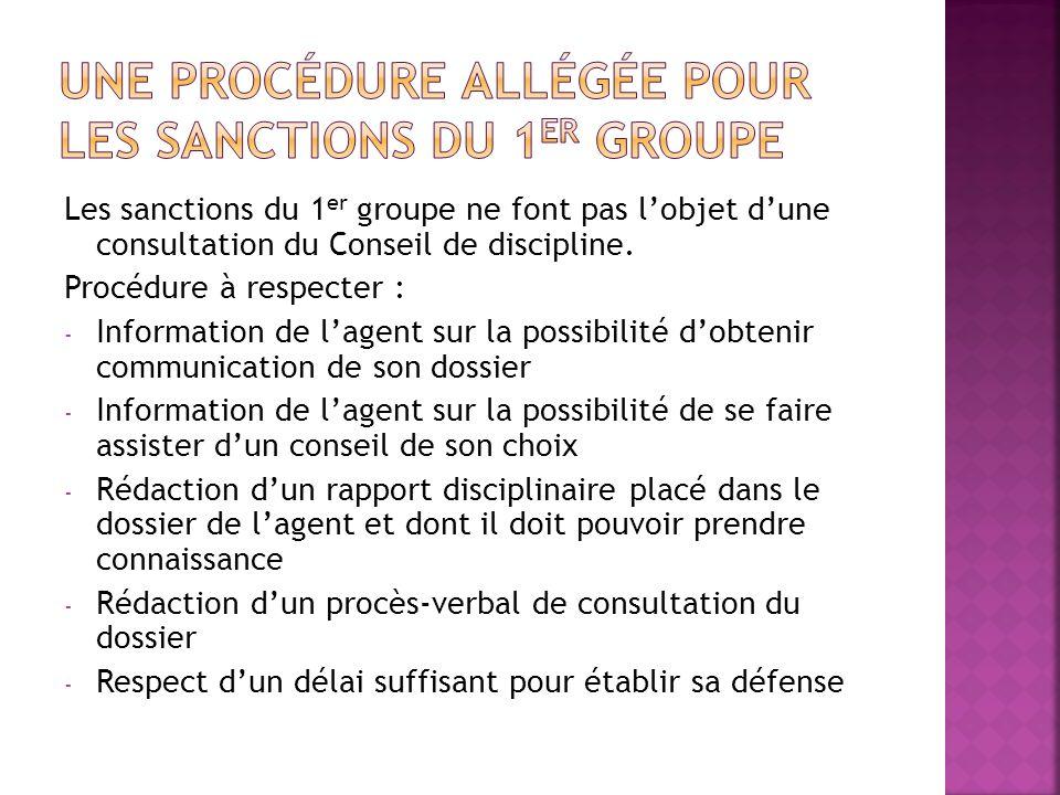 Une procédure allégée pour les sanctions du 1er groupe
