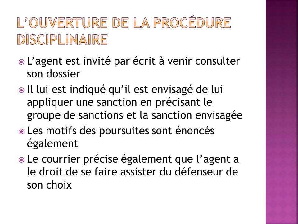 L'ouverture de la procédure disciplinaire