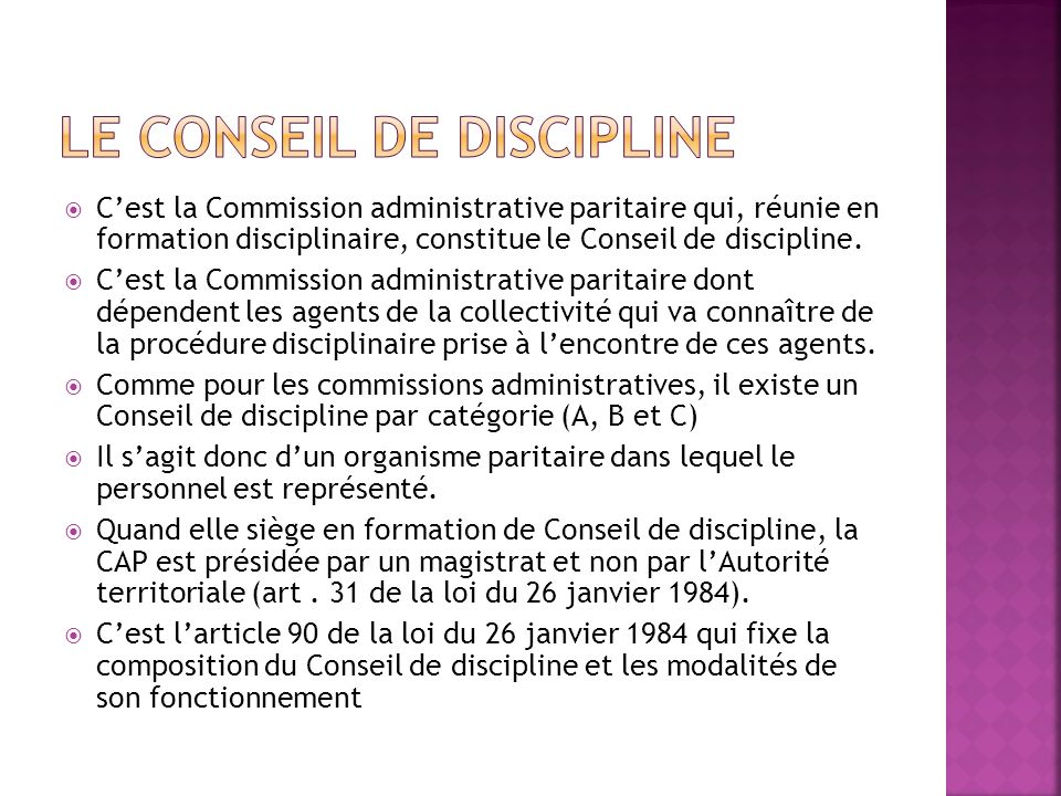 Le Conseil de discipline