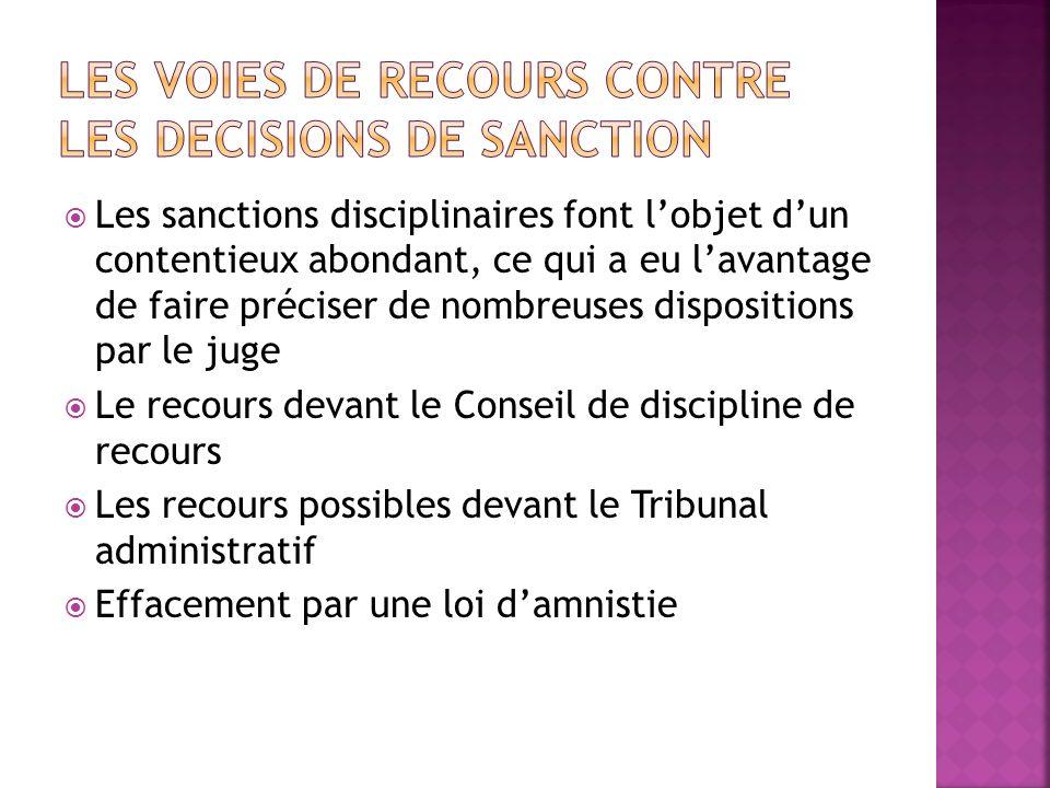 LES VOIES DE RECOURS CONTRE LES DECISIONS DE SANCTION