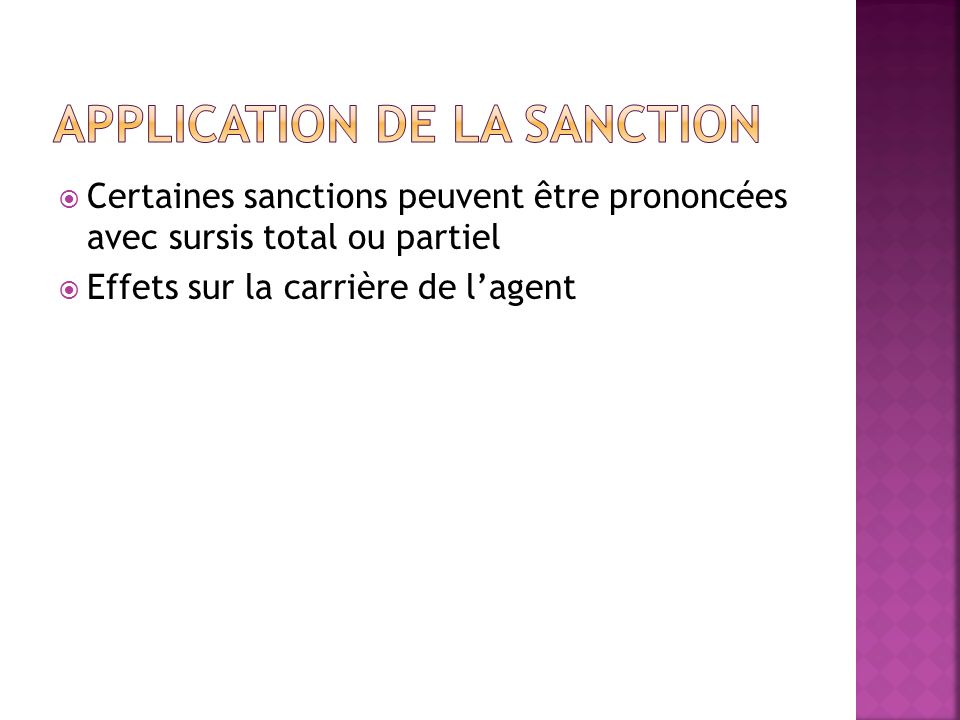 Application de la sanction