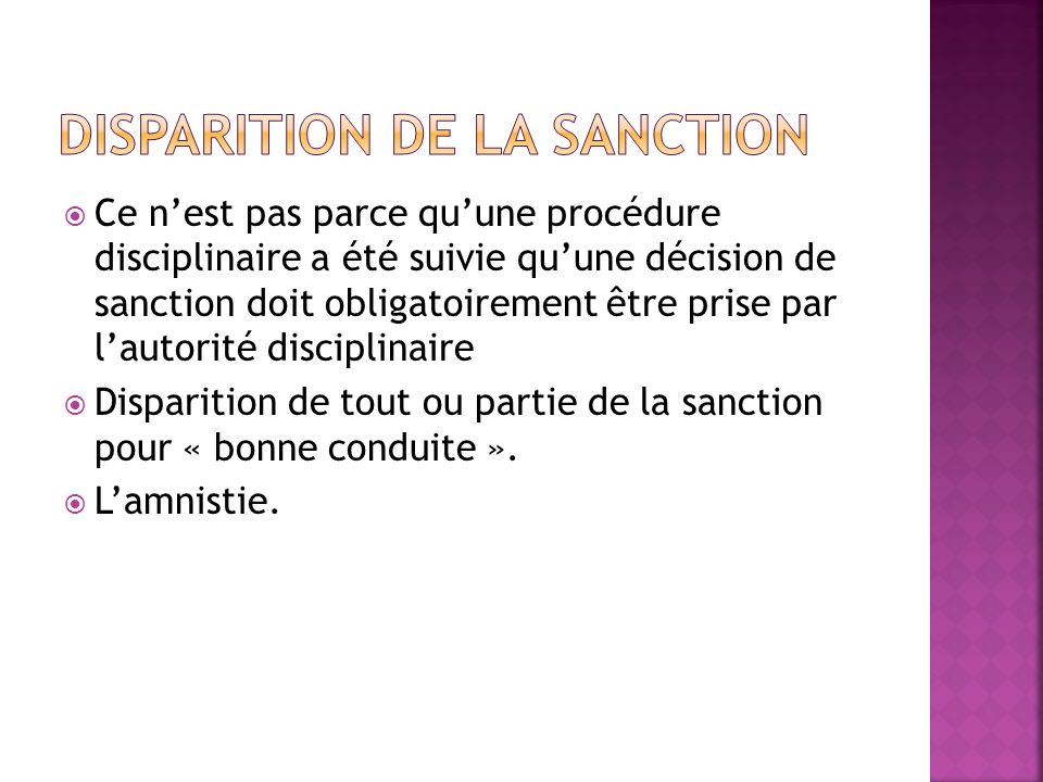 Disparition de la sanction