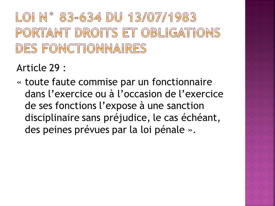loi n° 83-634 du 13/07/1983 portant droits et obligations des fonctionnaires