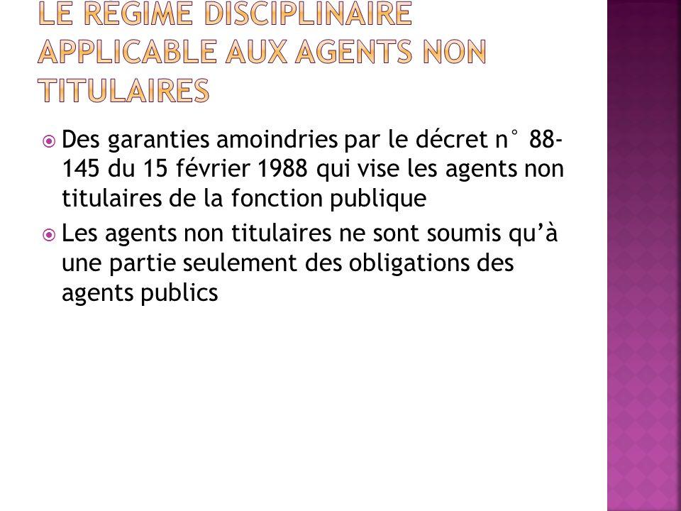 Le régime disciplinaire applicable aux agents non titulaires