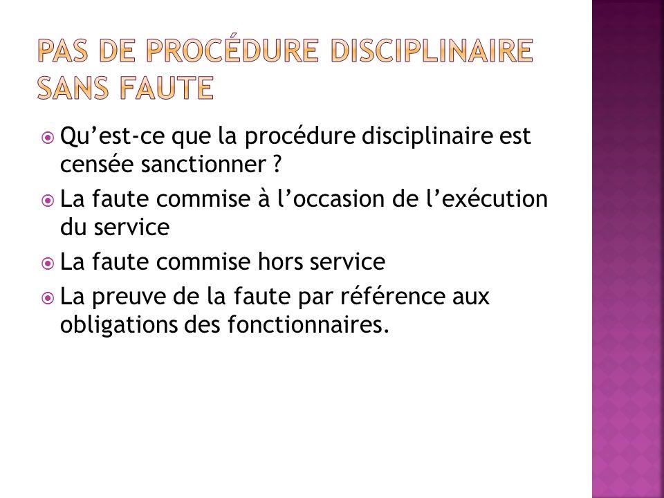 Pas de procédure disciplinaire sans faute