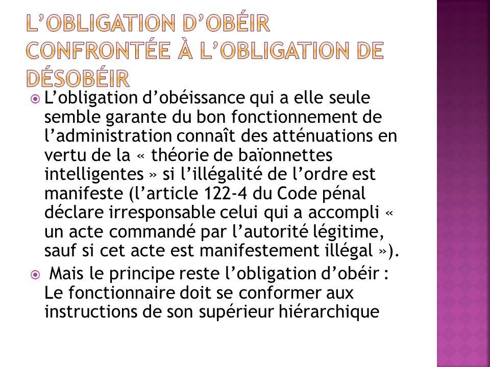L'obligation d'obéir confrontée à l'obligation de désobéir