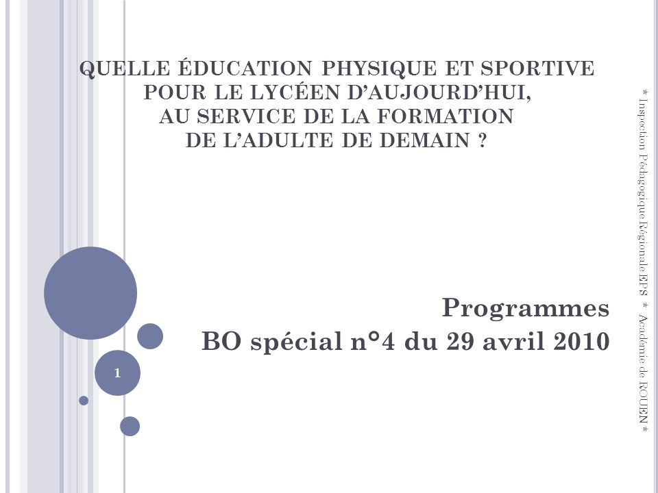 Programmes BO spécial n°4 du 29 avril 2010