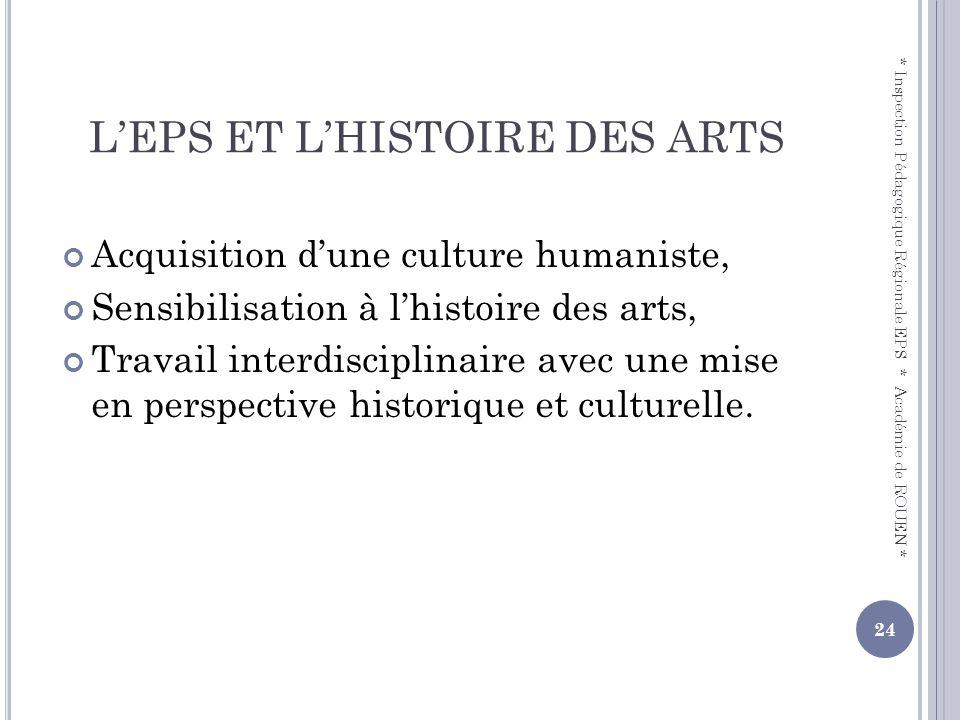 L'EPS ET L'HISTOIRE DES ARTS