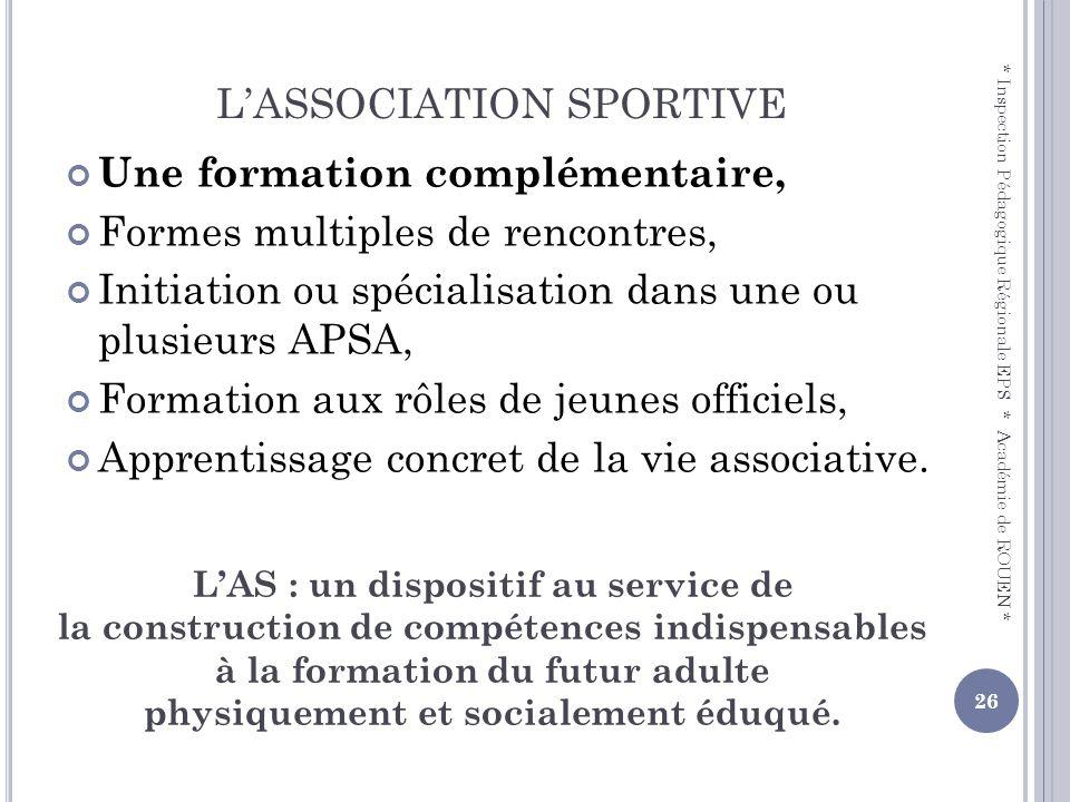 L'ASSOCIATION SPORTIVE
