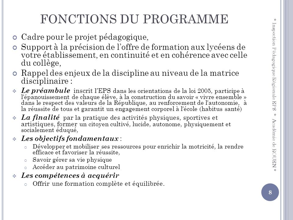 FONCTIONS DU PROGRAMME