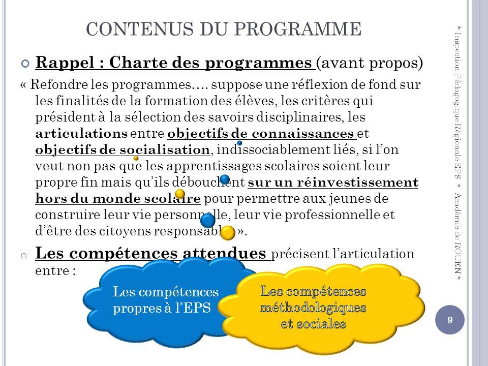 CONTENUS DU PROGRAMME Rappel : Charte des programmes (avant propos)
