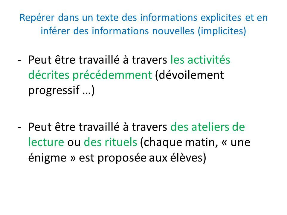 Repérer dans un texte des informations explicites et en inférer des informations nouvelles (implicites)
