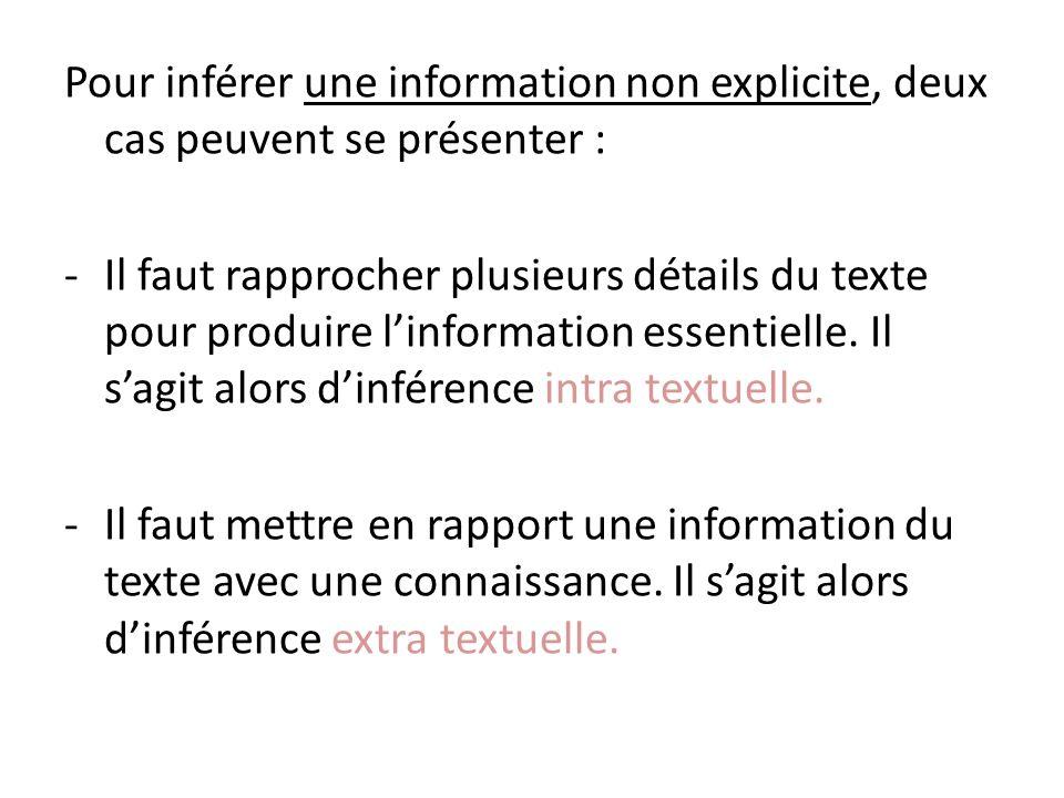 Pour inférer une information non explicite, deux cas peuvent se présenter :