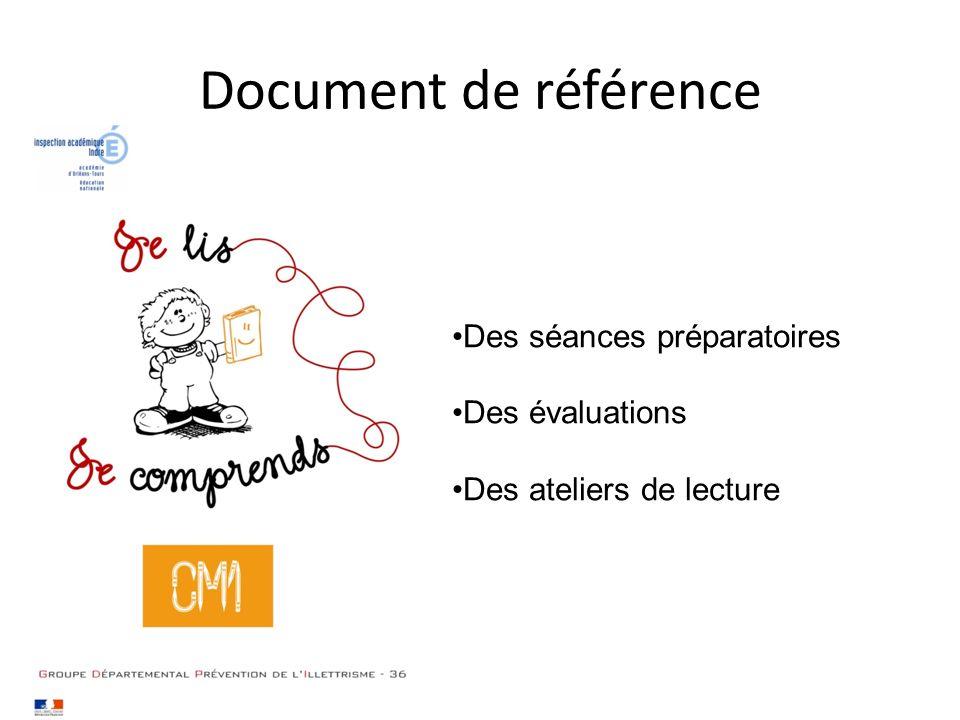 Document de référence Des séances préparatoires Des évaluations