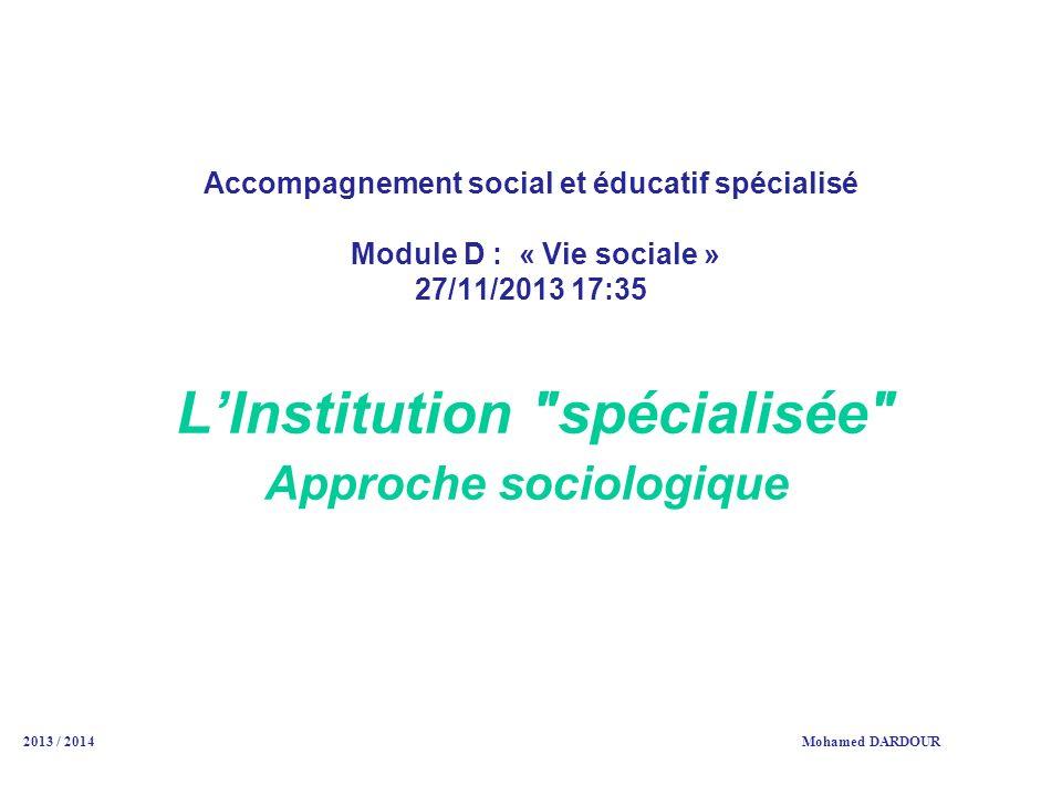 L'Institution spécialisée Approche sociologique