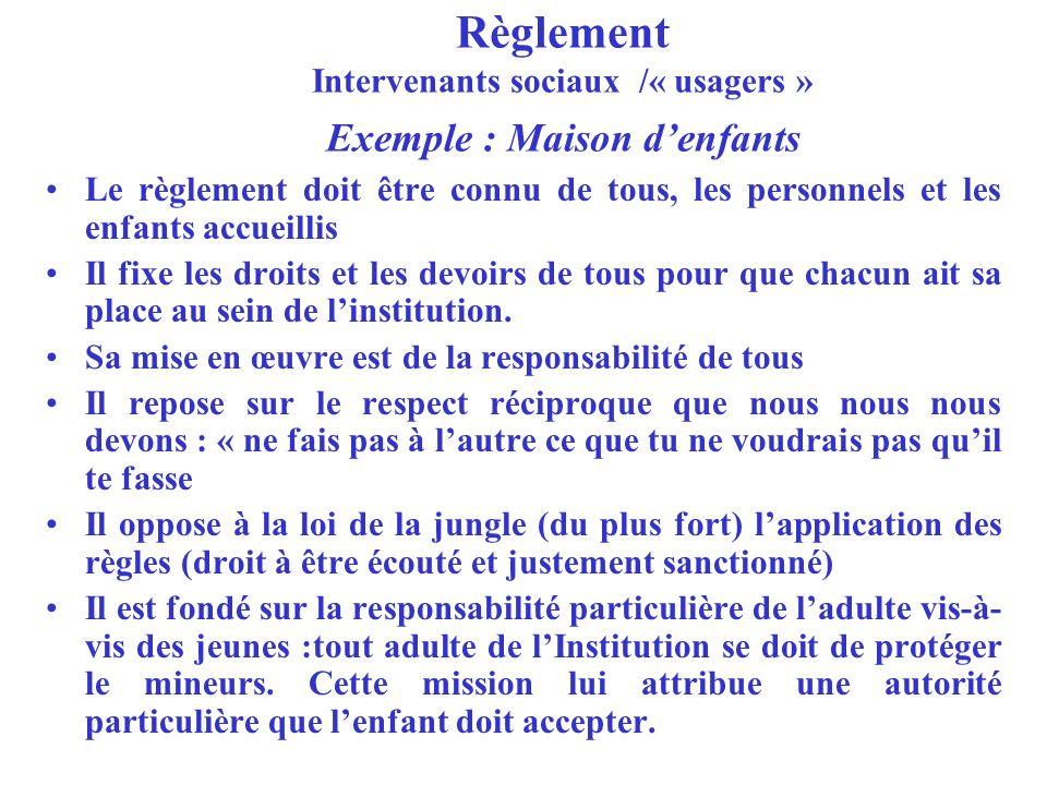 Règlement Intervenants sociaux /« usagers » Exemple : Maison d'enfants
