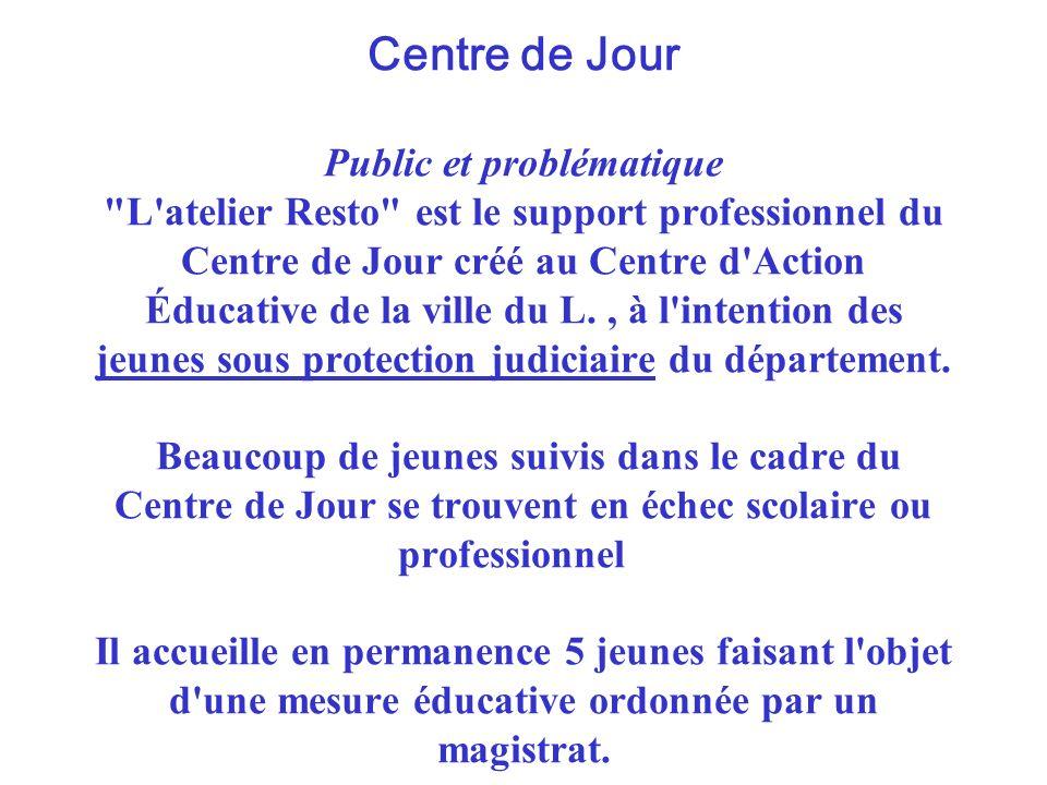 Centre de Jour Public et problématique L atelier Resto est le support professionnel du Centre de Jour créé au Centre d Action Éducative de la ville du L.