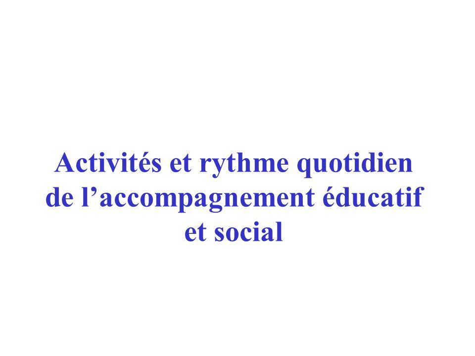 Activités et rythme quotidien de l'accompagnement éducatif et social