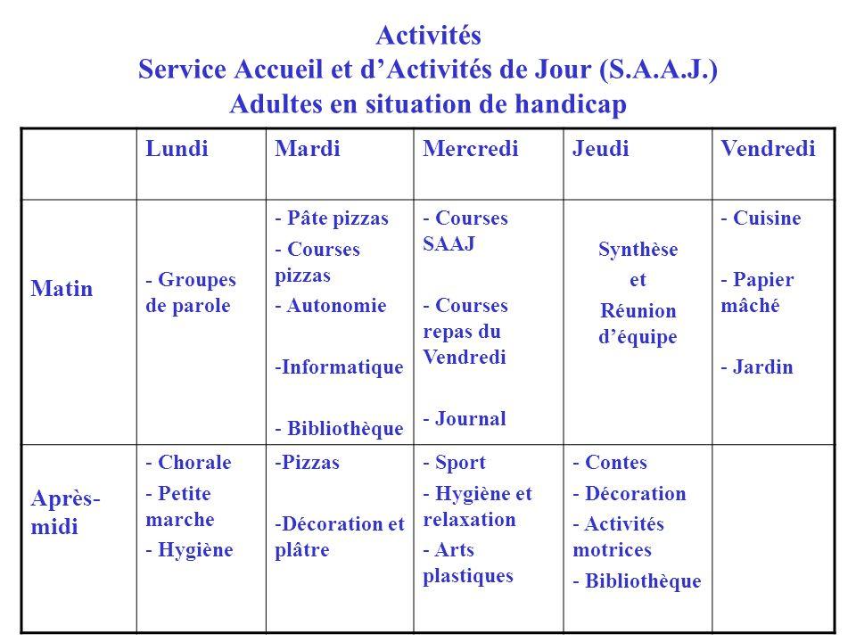 Activités Service Accueil et d'Activités de Jour (S. A. A. J