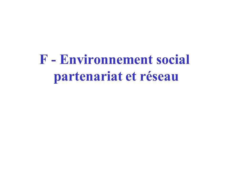 F - Environnement social partenariat et réseau