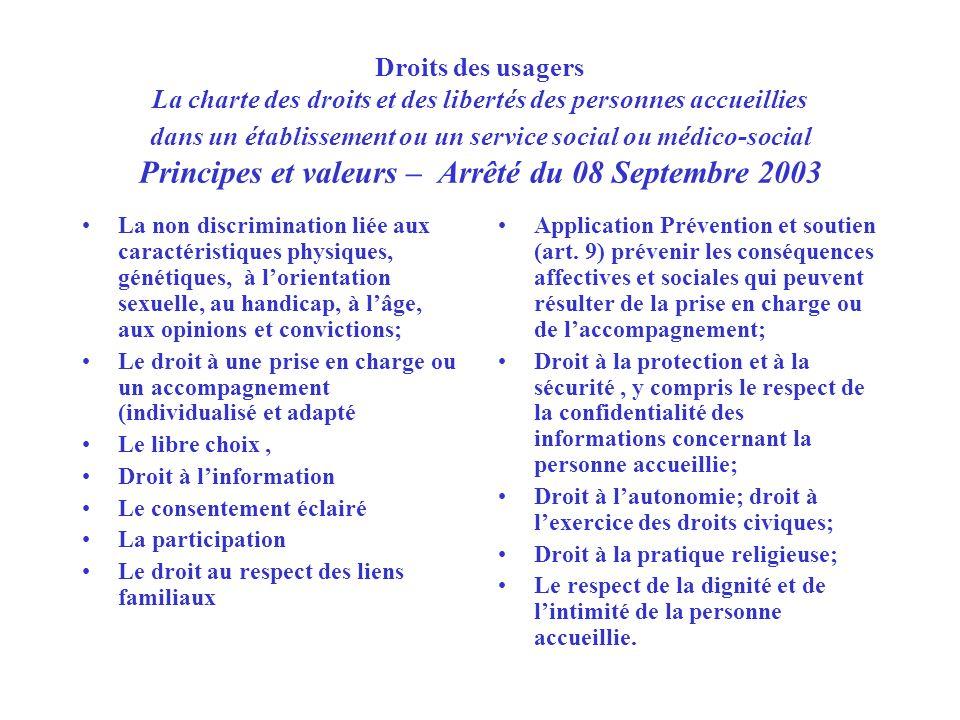 Droits des usagers La charte des droits et des libertés des personnes accueillies dans un établissement ou un service social ou médico-social Principes et valeurs – Arrêté du 08 Septembre 2003