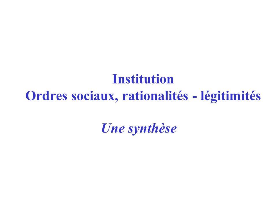 Institution Ordres sociaux, rationalités - légitimités