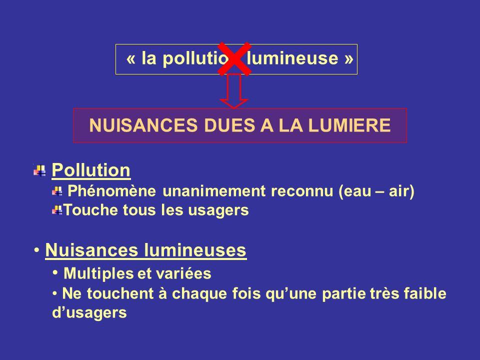 « la pollution lumineuse » NUISANCES DUES A LA LUMIERE