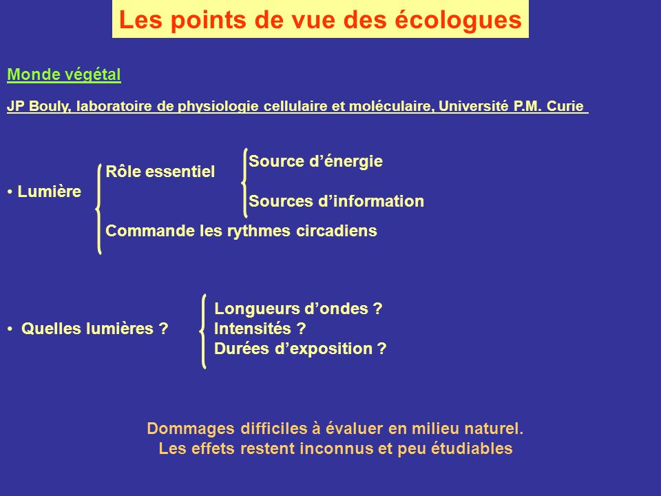 Les points de vue des écologues