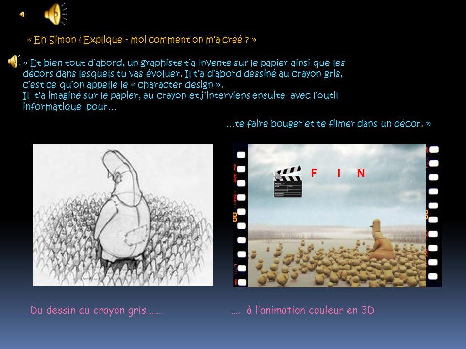F I N Du dessin au crayon gris …… …. à l'animation couleur en 3D