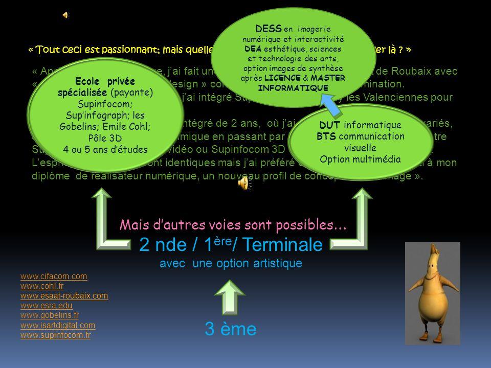 2 nde / 1ère/ Terminale 3 ème Mais d'autres voies sont possibles…