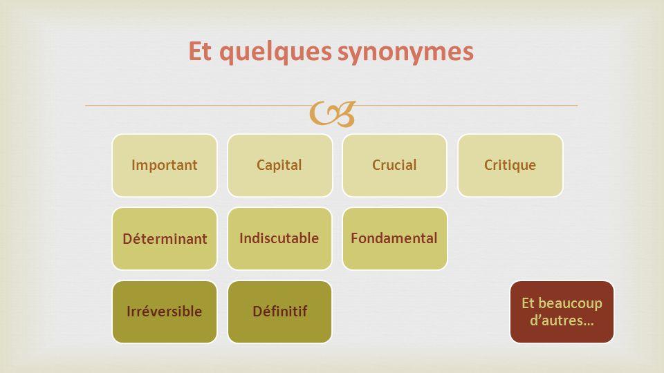 Et quelques synonymes Important Capital Crucial Critique Déterminant