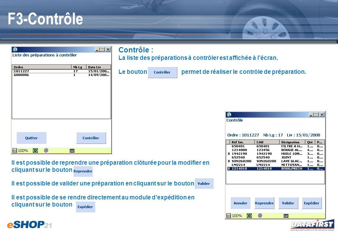 F3-Contrôle Contrôle : La liste des préparations à contrôler est affichée à l'écran.