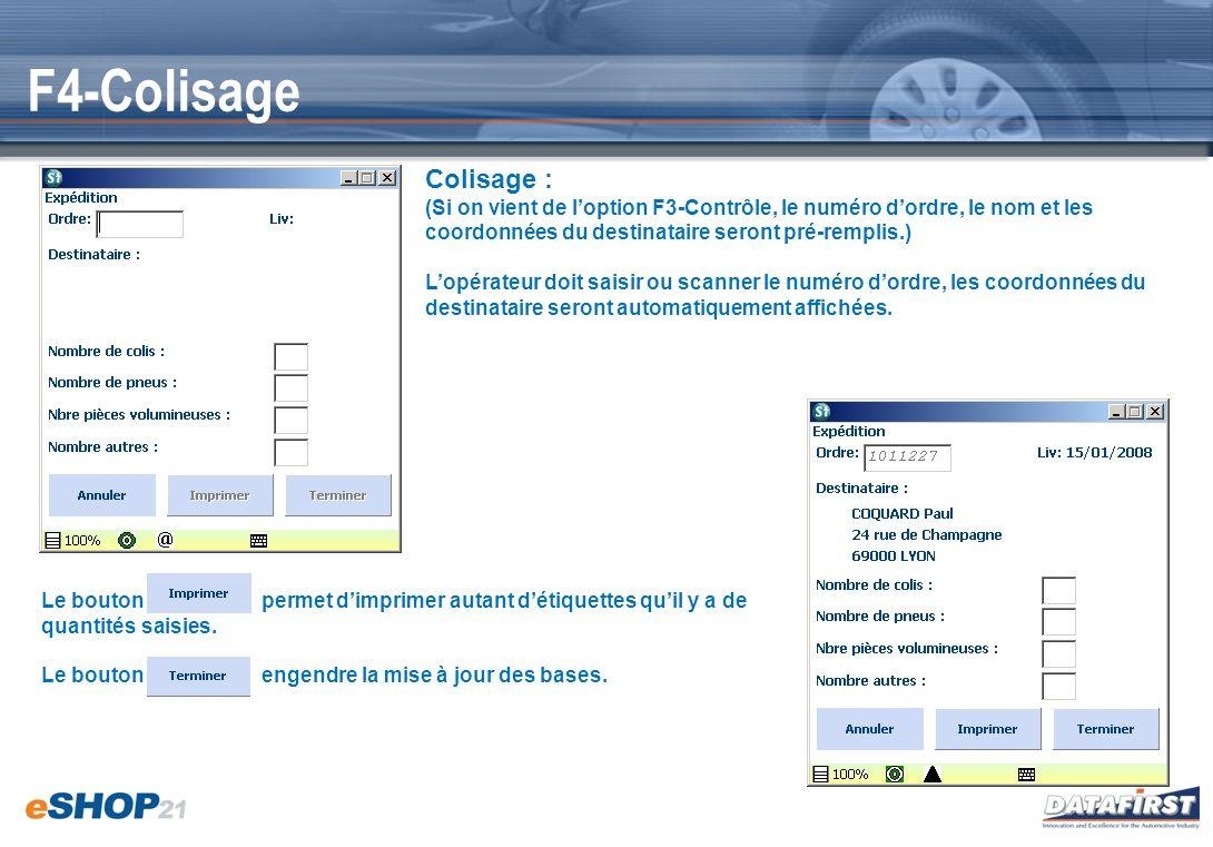 F4-Colisage Colisage : (Si on vient de l'option F3-Contrôle, le numéro d'ordre, le nom et les coordonnées du destinataire seront pré-remplis.)