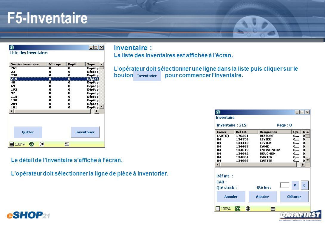F5-Inventaire Inventaire :