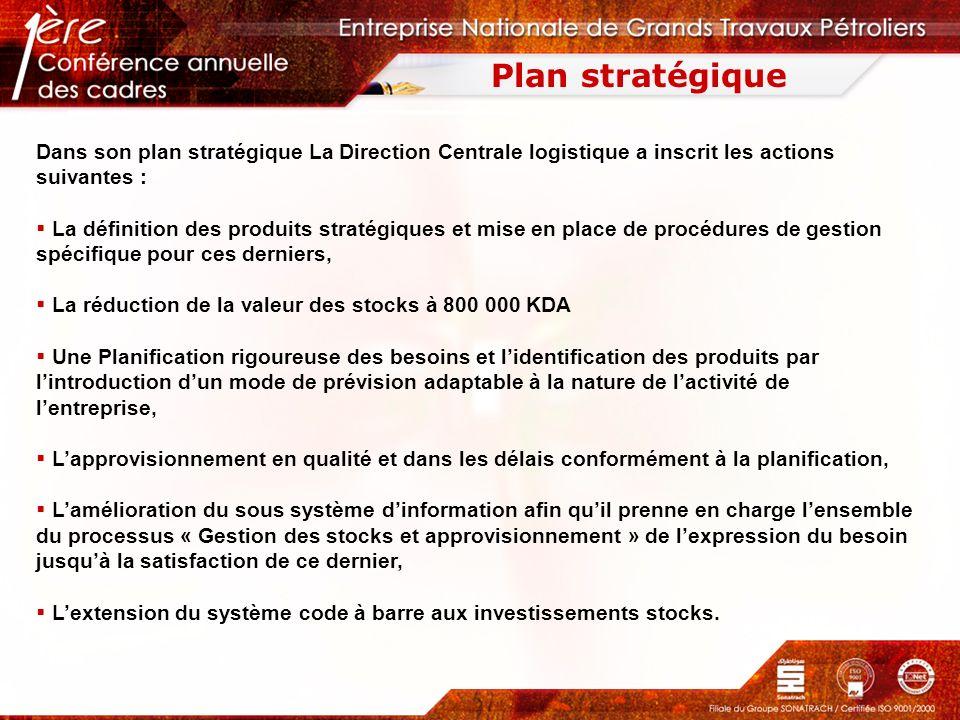 Plan stratégique Dans son plan stratégique La Direction Centrale logistique a inscrit les actions suivantes :