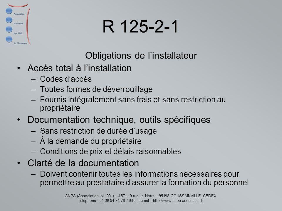 Obligations de l'installateur