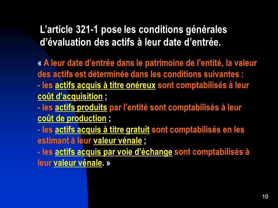 L'article 321-1 pose les conditions générales d'évaluation des actifs à leur date d'entrée.